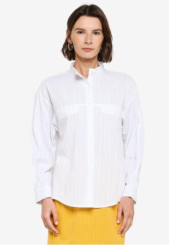 ZALIA BASICS white Mandarin Collar Shirt E2238AA759E7FEGS_1