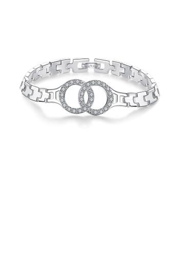 Glamorousky white Fashion Elegant Double Circle Bracelet with Austrian Element Crystal 2D58EAC5C06C72GS_1