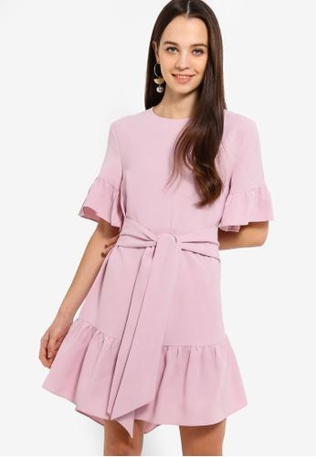 Something Borrowed purple Waist Tie Ruffles Hem Relaxed Dress BB050AAC880413GS_1
