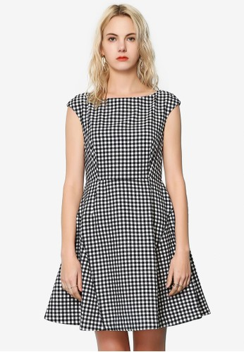 Hopeshow black Checkered Sleeveless Dress CED5EAA98B98DAGS_1