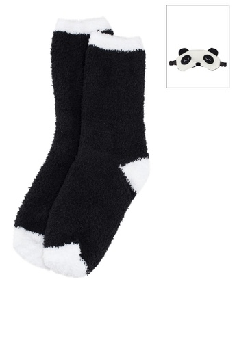 Brave Soul black Panda Novelty Fluffy Bed Socks And Eyemask With Ears Set C14BCAA13A2634GS_1