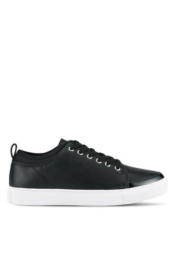 ZALORA black Mix Patent Lace Up Sneakers E6BDCSH9D8943AGS_1