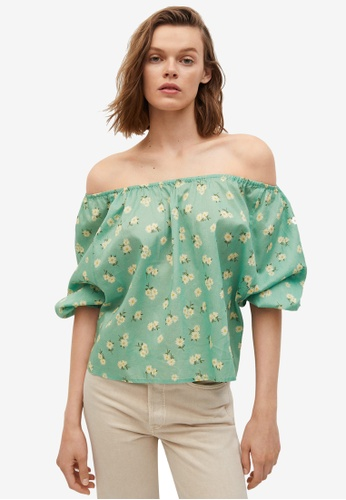 Mango 綠色 Printed Cotton Blouse 9E999AAE4F90C6GS_1