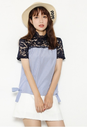 Shopsfashion black and blue Illusion Lace Blouse SH656AA79UOYSG_1