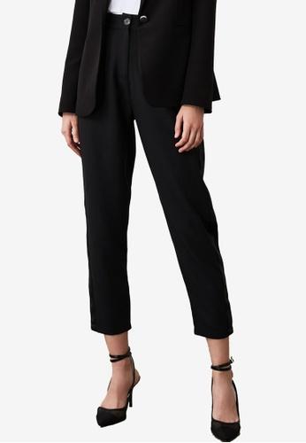 Trendyol black Side Satin Trim High Waist Pants 6EFBBAAE4CCF3AGS_1