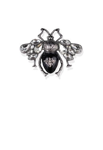 Glamorousky white Fashion Vintage Black Bee Brooch with White Cubic Zirconia 74383ACCF09D91GS_1