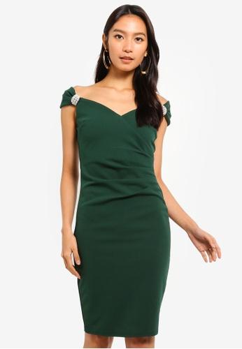 Goddiva 綠色 鑽飾肩帶洋裝 6E124AA7F17061GS_1