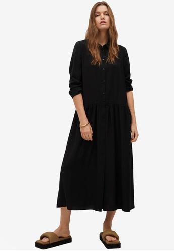 Mango black Ruffled Shirt Dress AAFF2AACAC25EAGS_1
