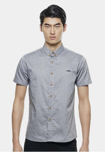 Private Stitch black Short Sleeve Shirts with Signature Moustache Logo PR777AA73QPAMY_1