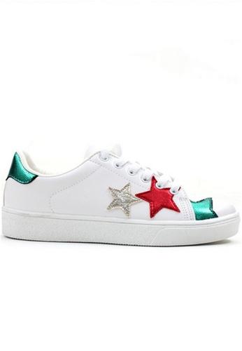 Crystal Korea Fashion 白色 and 綠色 韓國製星形圖案撞色繫帶休閒鞋 256C2SH1E27A7CGS_1
