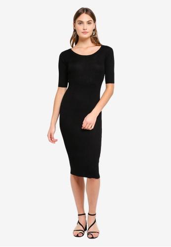 Brave Soul black Ribbed Midi Dress E7B35AAAD864E1GS_1
