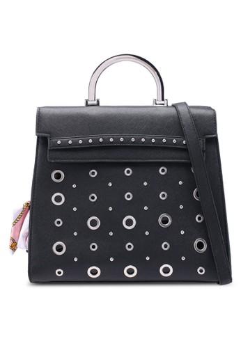 OVS black Cartella Eyelets Top Handle Bag AB81CACA25F2F8GS_1