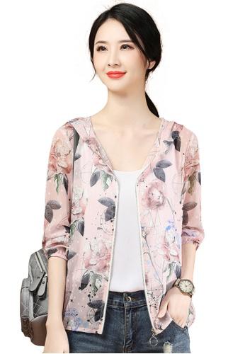 A-IN GIRLS pink Retro Printed Thin Chiffon Jacket 49FADAAF771F89GS_1