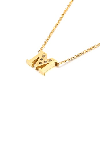 Glamorousky white Fashion Personality Plated Gold English Alphabet M 316L Stainless Steel Pendant with Cubic Zirconia and Necklace 1BACAACBF86861GS_1