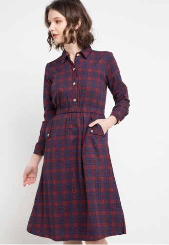 novel.mice red and blue and multi Fitted Plaid Dress A94D8AA54DA030GS_1