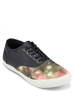 Galaxy Print Faux Leather Sneakers