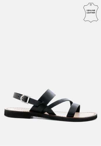 RAG & CO black Leather Flat Sandal with Ankle Strap E6074SH92FE2C1GS_1