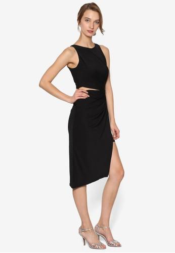 Friesprit手錶專櫃eda 腰間鏤空抓褶連身裙, 服飾, 洋裝