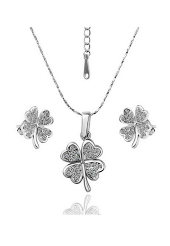 Treasure by B & D gold S043 Czech Drilling Clover Leaf Necklace and Earrings Jewellery Set TR022AC39YQYPH_1