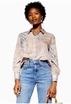 c487079046c TOPSHOP Petite Pale Python Print Shirt S  89.90. Sizes 4 6 8 10 12