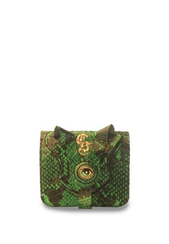 CSHEON green and gold Megane Green Snakeskin Leather One Eyed Small Wallet with Front Coin Pocket ABEAEAC122D13DGS_1