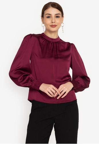 ZALORA OCCASION red Volume Sleeves Satin Blouse 8102DAAC16106AGS_1