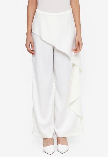 Zalia white Asymmetric Peplum Wide Leg Pants BEC99AA28DD6B2GS_1