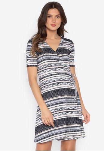 MEMO black Printed Wrap Dress B0289AADEB08F5GS_1
