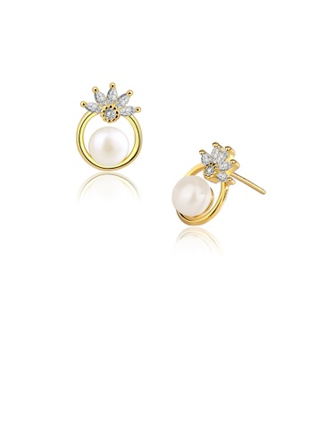 Glamorousky white 925 Sterling Silver Plated Gold Fashion and Elegant Floral Freshwater Pearl Stud Earrings with Cubic Zirconia 605E4ACBBF5000GS_1