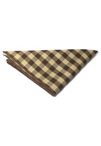 Splice Cufflinks brown Patchwork Series Brown Plaids Design Cotton Pocket Square   SP744AC01DKCSG_1