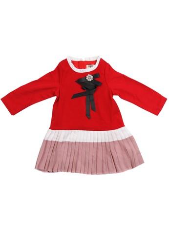 Moejoe red MOEJOE Tiara Ruffle Dress 29E90KA083AF6FGS_1