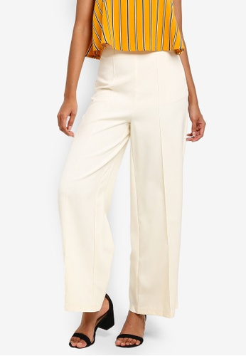 ZALORA BASICS white Basic High Waist Palazzo Trousers 2812EAADFF3D71GS_1