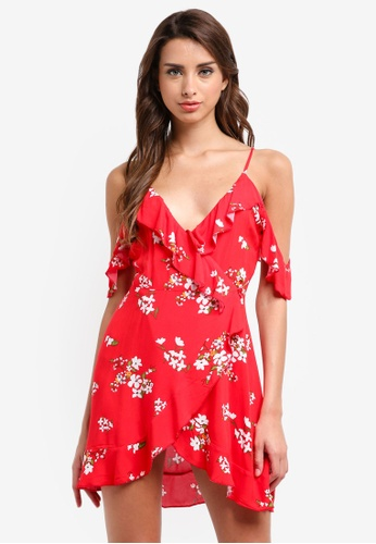 MISSGUIDED red Floral Strappy Cold Shoulder Tea Dress CDD0BAAAB0D562GS_1