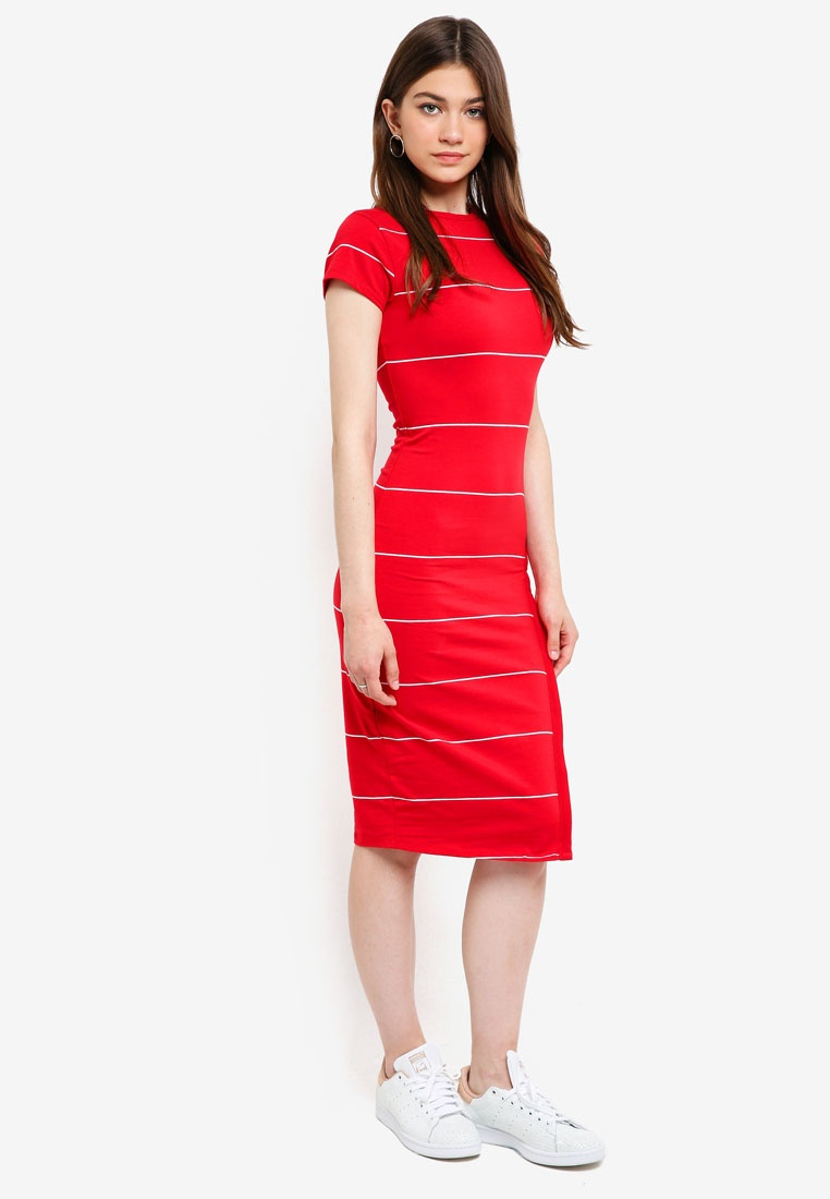 Dress Midi On Red Short Tango Stripe Cotton Sleeve White Anthea Wide tqSw6S