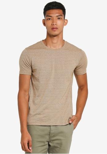 !Solid 褐色 短袖紋理T恤 7A718AABBC4068GS_1