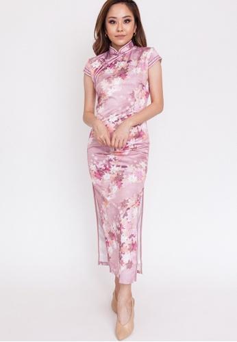 Hook Clothing pink Pink Leaf Print Long Cheongsam 50B89AA5F1D012GS_1