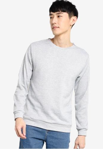 ZALORA BASICS grey Sweatshirt with Zip Detail 8A21FAA6BC9585GS_1