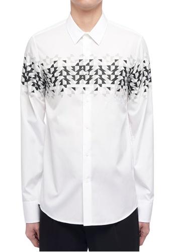 ck Calvin Klein 白色 棉質超大尺碼長袖襯衫 69884AA63691A2GS_1