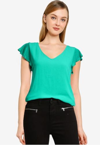 Springfield green Flounced Sleeves T-Shirt 34B66AA70E40ACGS_1