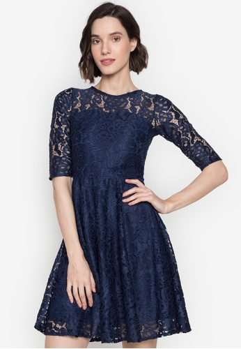 Ashley Collection navy Lace Quarter Sleeve Fit & Flare Dress 30E87AA777CA82GS_1