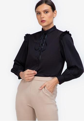 ZALORA WORK black Pleated Sleeves Blouse C406DAA9B0875BGS_1