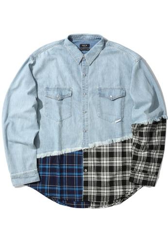 Fivecm blue Denim panel shirt A9ABAAADB0AC15GS_1