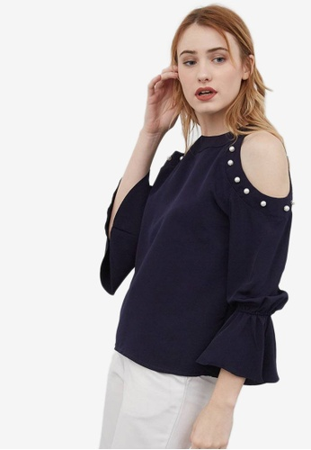 Berrybenka blue Sowa Blouse Cut Off with Pearl 7FD38AA7945665GS_1