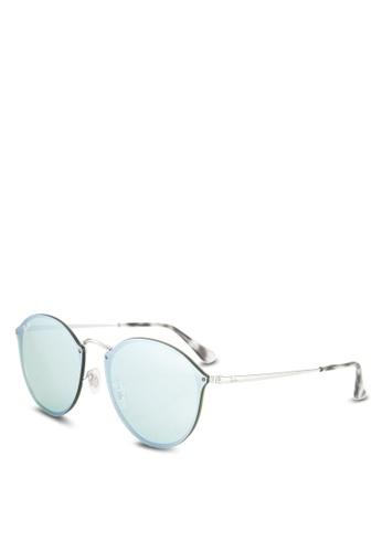 Ray-Ban silver Blaze Round RB3574N Sunglasses RA896GL64GSPMY_1