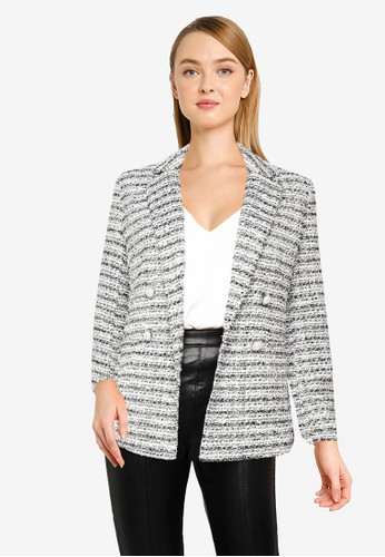 Miss Selfridge white Monochrome Checked Boucle Blazer 03C8AAAC4DA5C0GS_1