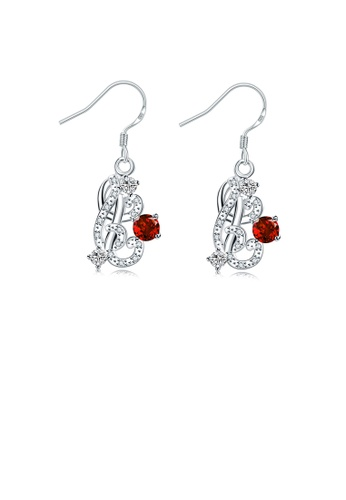 Glamorousky red Fashion Elegant Geometric Earrings with Red Austrian Element Crystal 33287ACFA9E6DEGS_1