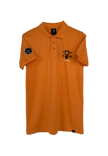 Playboy Apparel orange Pique Polo Shirt with Hi-Den Print Orange 16008AAD490D77GS_1