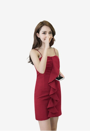 hk-ehunter red Camisole Solid Coloured A-Line Dress with Frills B2B2DAA5974AC1GS_1