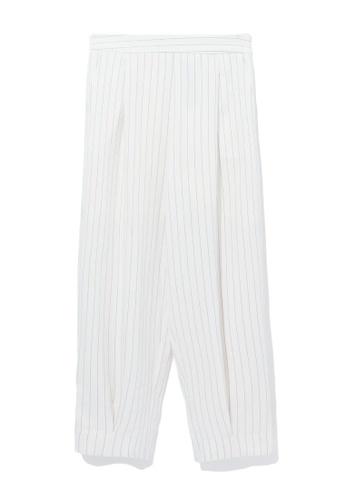 izzue white Pinstripe balloon pants CB7F1AAB44F655GS_1
