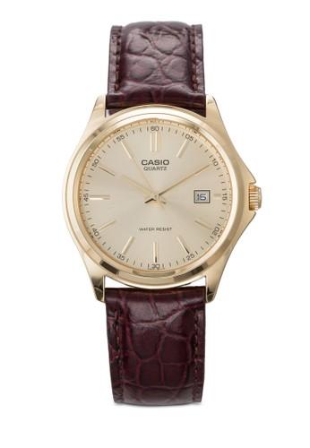 圓框日期皮革手錶, 錶類, 飾品配esprit 折扣件